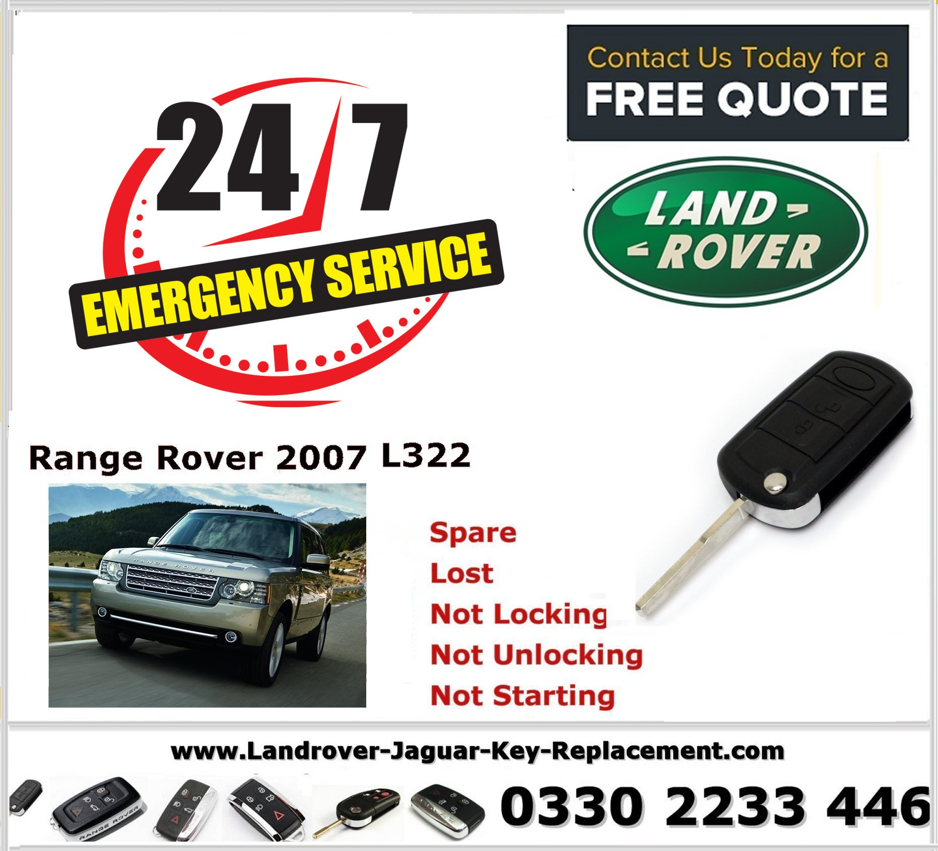 Range Rover Vogue L322 2007 Key Fob Replacement Spare Lost Not Locking Not Unlocking