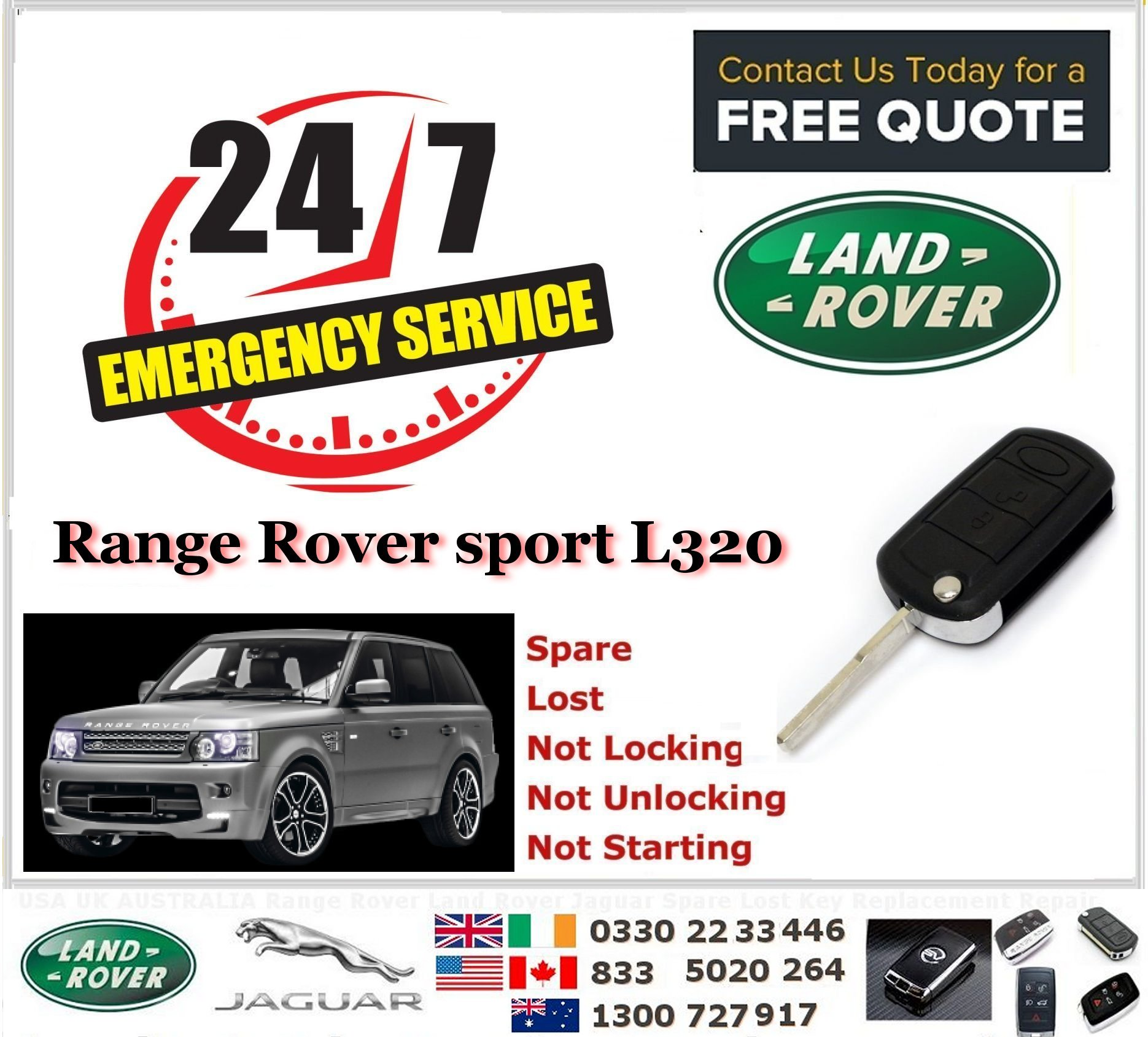 2010-2015 Land Rover VOUGE L322 SPORT Replacement Smart Key & Programming